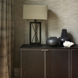 Living room detail with custom made cabinet