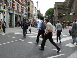 Pedestrians on a crossing