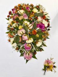 Wedding bouquet flower pressing