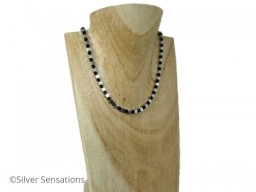 Very Limited Edition Silver Plated Hematite Sterling Silver Clasp Necklace With Black Swarovski Crystals