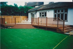 Hardwood decking with steps and handrail