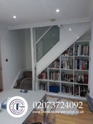 Staircase, Walls & Under Stair Shelving Painted