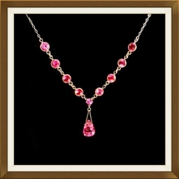 Art Deco Silver And Pink Crystal Necklace