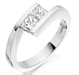 Two stone princess diamond engagement ring