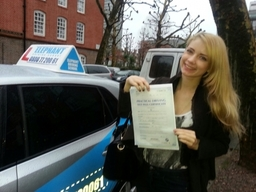 Elephant Driving School congratulates Laura who took driving lessons in Wimbledon, passed her driving test at Morden Test center on her first attempt.