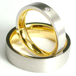 Gold and Platinum Combination His and Hers Wedding Rings
