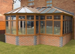Woodgrain P-Shaped Conservatory