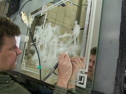 Sand blasting decorative glass design