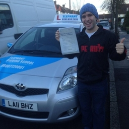 Elephant Driving School Congratulates Bruno from Clapham South, passing his test at Morden Test Center.