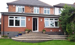 Top RHS Extension, Full width Ground Floor Extension, Patio & Steps to Garden
