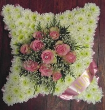 Funeral tribute cushion of flowers £59