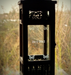 Tall Wooden Lantern - Engraved by Frosted Lime Ltd