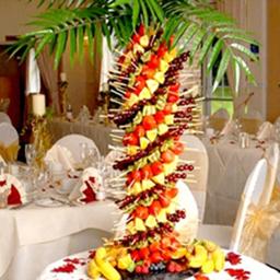 wedding food, pineapple palm tree, luau tree