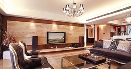Luxury Living Room With Wood Paneling concealed air con