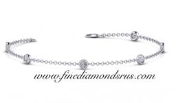 Bezel Set Link Bracelet in Platinum at Fine Diamonds R us