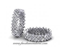 Baguette Round Diamonds Full Eternity Ring in Platinum at Fine Diamonds R Us