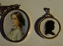 Miniature portrait and silhouette.