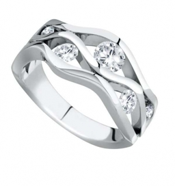 Platinum wavey design diamond set ring