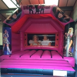 DISCO DIVAS BOUNCY CASTLE 15 X 15 FT This Bouncy Castle is suitable for Children and Adults The Castle will hold 8 to 10 users at a time The Castle has a sewn in rain cover for light rain The required space for this Bouncy Castle is 18 X 18 X 14FT High