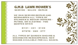 G M B  LAWN MOWERS NO VAT !!!!!!!!
