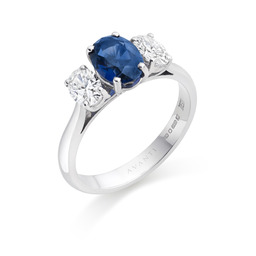 Oval sapphire & diamond threes stone ring