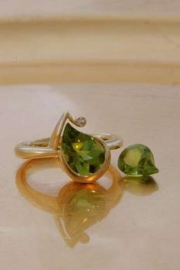 Bespoke award winning 18ct yellow gold Peridot and diamond cocktail  ring