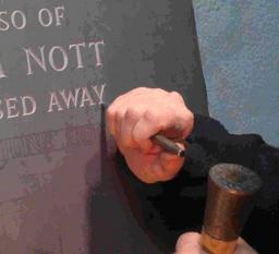 Hand cutting  slate