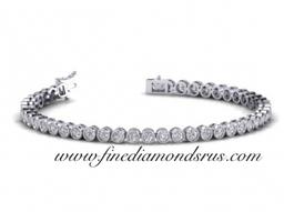 Round Diamonds Bezel Set Tennis Bracelet in Gold & Platinum Fine Diamonds R Us