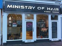 Ministry of Hair shopfront in Eastbourne