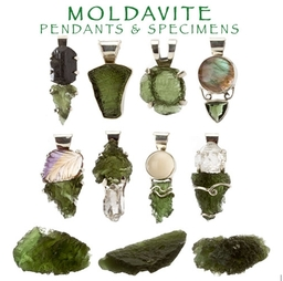Genuine Moldavite Pendants and Specimens
