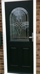 Green composite front door.