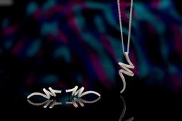 18ct White Gold  diamond set earring and pendant set