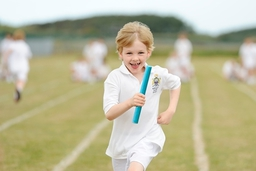 Running the Relay at Sports Day