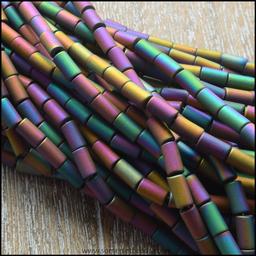 Rainbow Hematite Matte Tube Beads