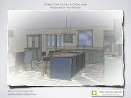 Watercolour visual of Hampshire Shaker Kitchen 2