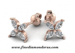 Marquise Cut Diamonds Earring in Rose Gold at Fine Diamonds R Us