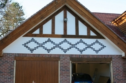 Monocouche render to garage apex, Poynton, Cheshire.