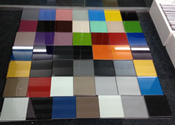 Painted glass splash back samples in derry city an