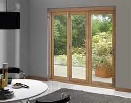 External Oak Deluxe Folding Sliding Patio Doors
