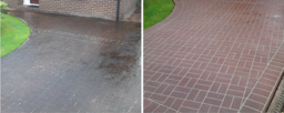 Before and after driveway clean in Peterborough