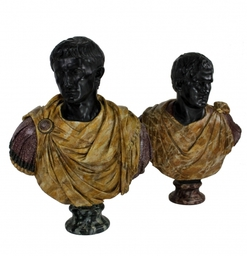 Pair Of 19th Century Faux Marble Emporer Busts