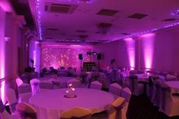mobile disco with purple uplighting