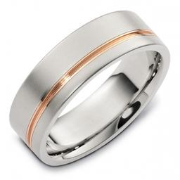 Platinum 18ct Rose Gold Gents Wedding Ring