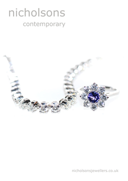 Diamond bracelet & Vintage Diamond Sapphire Ring