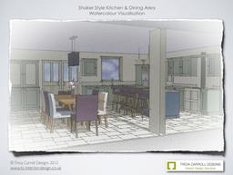 Watercolour visual of Hampshire Shaker Kitchen 1