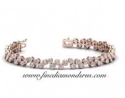 Bezel Set Round Brilliant Cut Diamonds Tennis Bracelet in Rose Gold at Fine Diamonds R Us