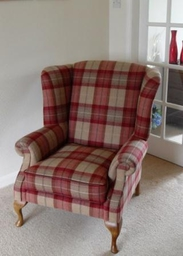 Wing Chair in Designer Plaid