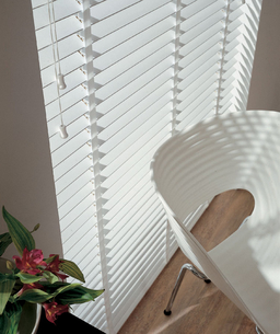 Bright White Wooden Venetian Blinds With Tapes