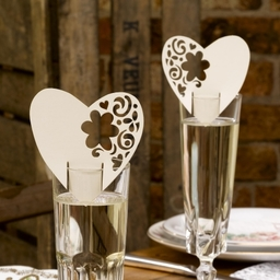 With Love Wedding Place Cards for Glass in Ivory