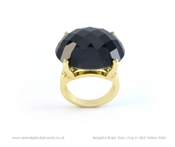 Bespoke Black Onyx ring design in 18ct Yellow Gold.